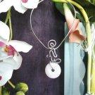 Single, Semi-Precious, Stone Donut and Wire Necklace ~ Design 3S