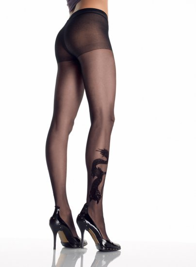Leg Avenue 9910 dragon tattoo sheer pantyhose black one size