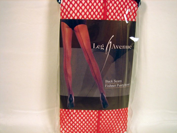 Leg Avenue back seam fishnet pantyhose red one size