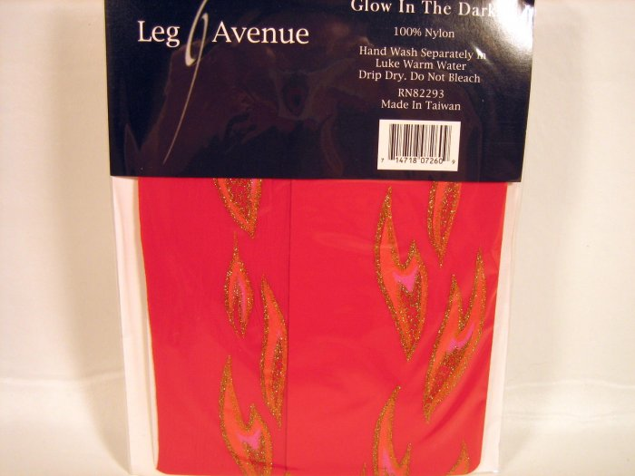 Leg Avenue glow in dark flame pantyhose red one size