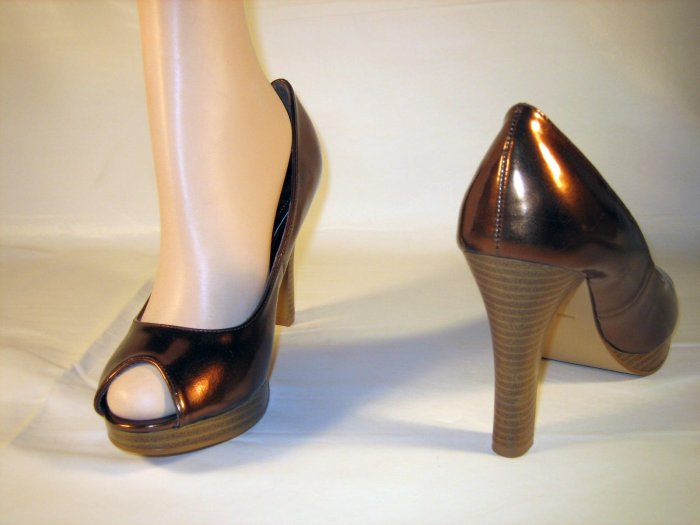 Anne Michelle platform peep toe pumps 4 inch high heels bronze size 10