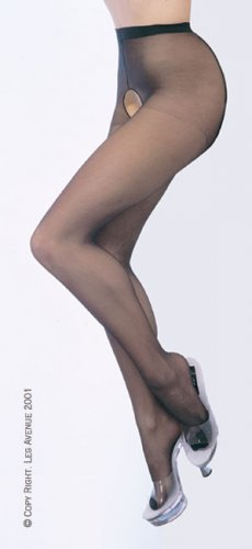 Leg Avenue sheer crotchless pantyhose beige one size