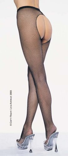 Leg Avenue crotchless fishnet pantyhose black 1x-3x