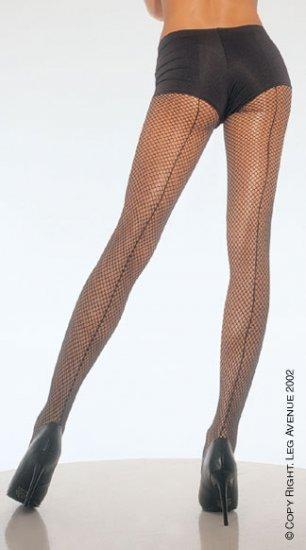 Leg Avenue 9015Q back seam fishnet pantyhose black plus size 1x-3x