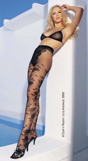 Leg Aveue sheer french cut panty jacquard flower black one size