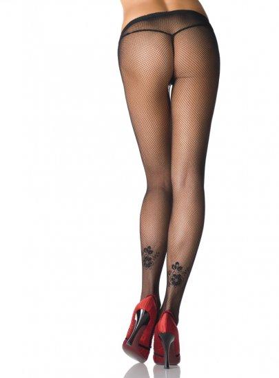 Leg Avenue Lycra fishnet tattooed flower black one size