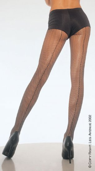Leg Avenue 9015 back seam fishnet pantyhose white one size