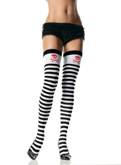 Leg Avenue black and white stripe thigh high with skull print top one size