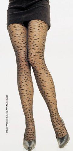 Leg Avenue Lycra sheer leopard print pantyhose in black one size