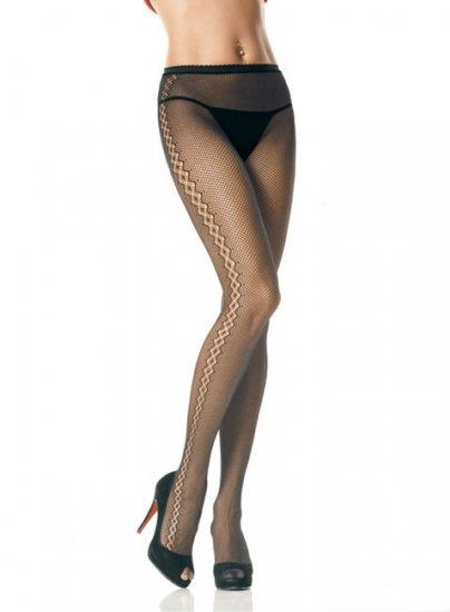 Leg Avenue seamless Lycra fishnet pantyhose with diamond net  up the side black one size