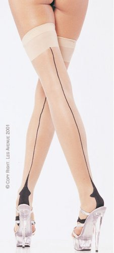 Leg Avenue Lycra cuban foot contrast stockings nude/black one size