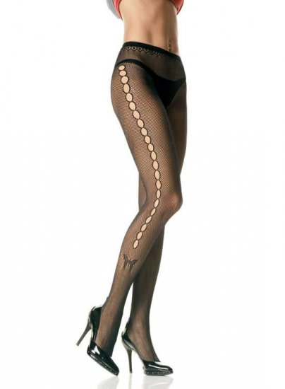 Leg Avenue seamless Lycra fishnet pantyhose with open hole side and butterfly tattoo one size