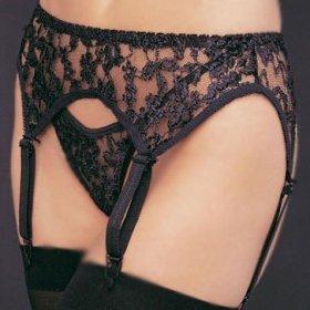 Leg Avenue lace garter belt thong set black queen size 1x-3x