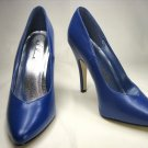 Ellie 8220 classic power pumps 5 inch stiletto high heels blue PU (faux leather) size 5