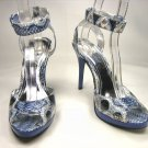 Anne Michelle strappy platform sandals 4.5 inch stiletto high heels shoes blue faux snake size 8.5