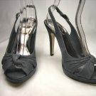 Anne Michelle open toe platform slingback pumps stiletto high heels shoes faux suede grey size 7