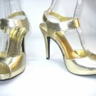 Anne Michelle Strappy platform sandal stiletto high heel shoes gold size 7