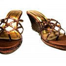 Bamboo espadrille sequined wedge high heel sandals shoes size 7.5