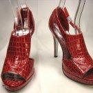 Open toe platform stiletto high heel pumps shoes red faux croc size 9