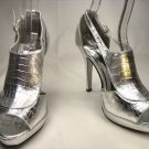 Open toe platform stiletto high heel pumps shoes silver faux croc size 10