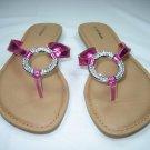 Rhinestone decorated sandals flats flip flops thongs fuchsia size 5