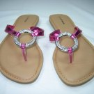 Rhinestone decorated sandals flats flip flops thongs fuchsia size 6