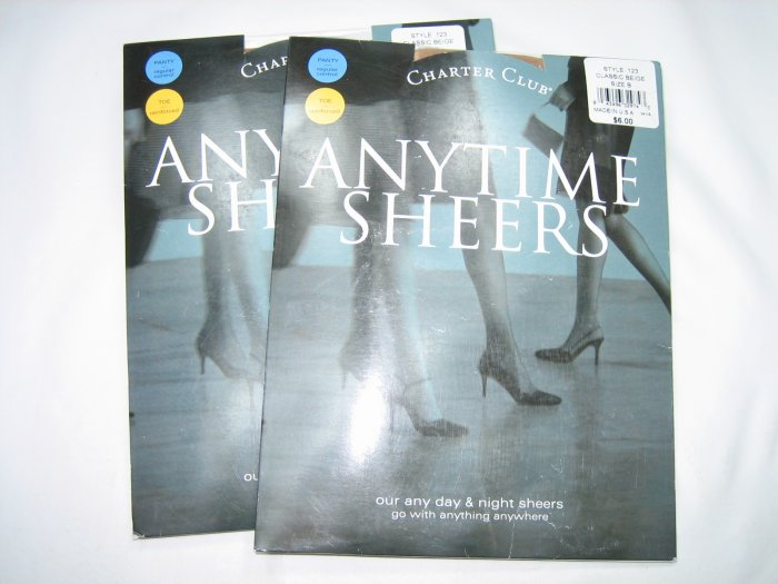 Lot 2 pairs Charter Club anytime sheers pantyhose classic beige size B