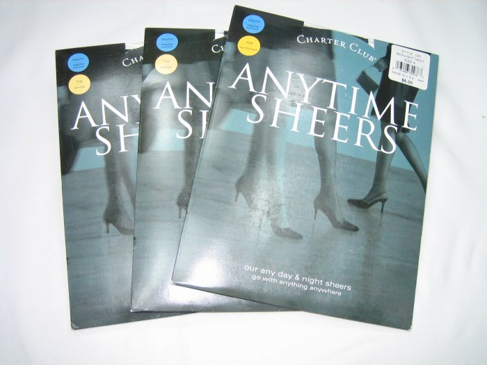 Lot 3 pairs Charter Club anytime sheers pantyhose midnight navy size A