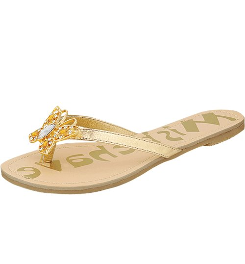 Butterfly rhinestone decorated sandals flats flip flops gold size 6.5