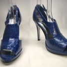 Open toe platform stiletto high heel pumps shoes blue faux croc size 5.5