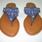 Colorful decorated women's sandals flats flip flops thongs blue size 8