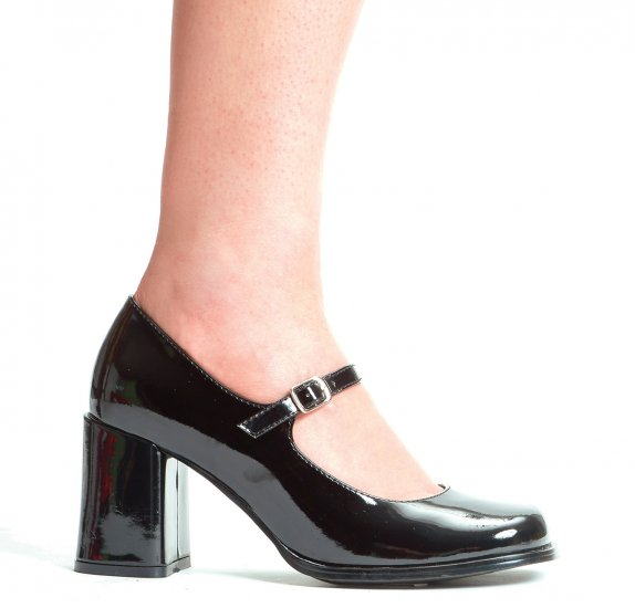 Mary jane pumps square toe chunky high heel shoes black patent size 8