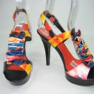 Multi color strappy platform sandals high heels shoes black size 8.5