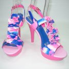 Multi color strappy platform sandals high heels shoes pink size 7.5