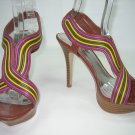 Multi color strappy platform sandals high heels women's shoes size 7