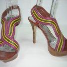 Multi color strappy platform sandals high heels women's shoes size 8.5