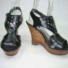 Strappy platform wedge high heel sandals black women's shoe size 7