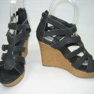 Strappy Espadrille platform sandals wedge high heels black size 5.5