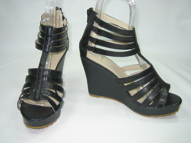 strappy platform sandals 4 inch wedge high heels black size 9