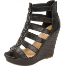Strappy platform sandals wedge high heel espadrilles black size 7.5