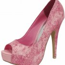 Open toe platform pumps 5 inch heels shoes faux snake pink size 7