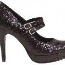 Ellie 421-jane-G Mary jane platform pumps high heels shoes black glitter size 6
