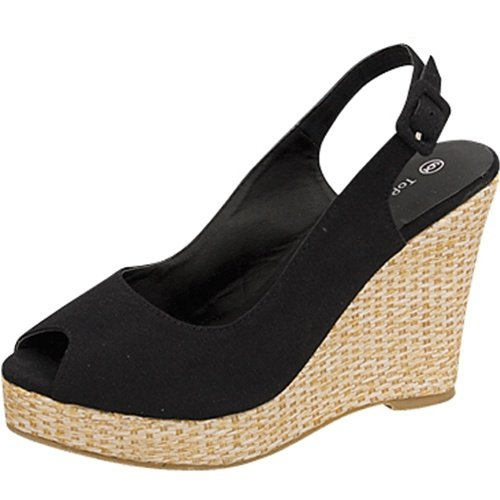 Open toe platform wedge slingback espadrille canvas pumps black size 9