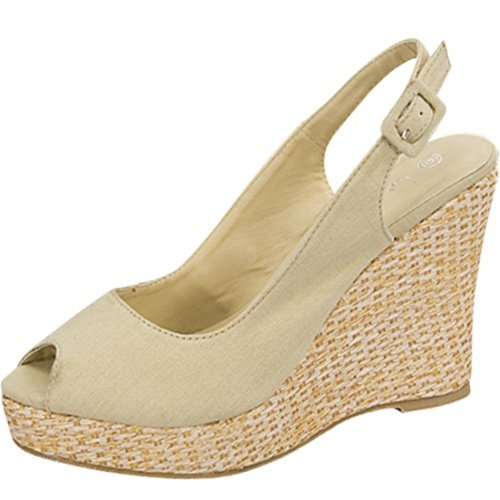 Open toe platform wedge slingback espadrille canvas pumps beige size 8