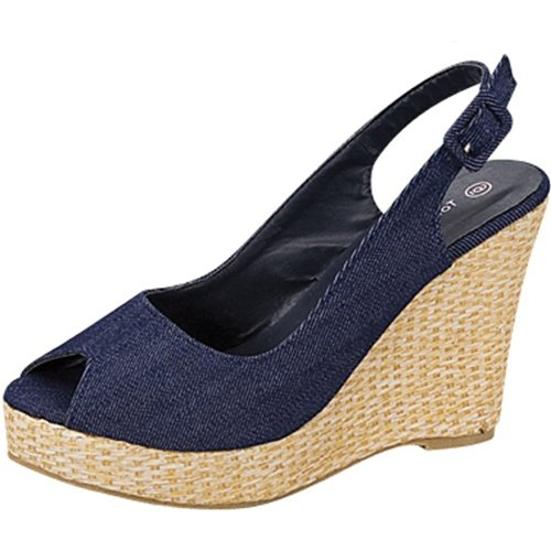 Open toe platform wedge slingback espadrille canvas pumps blue denim size 10