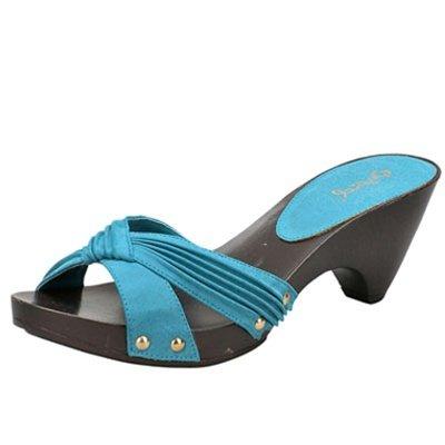 Women's x-band slides sandals faux buckskin turquoise size 6.5