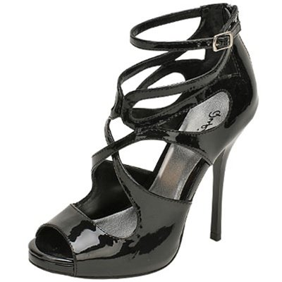 Qupid Demand-216 strappy sandals 5 inch stiletto high heel shoes black patent size 8