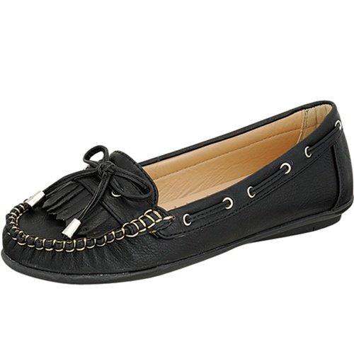 Women's moccasins flats shoes faux leather black size 8