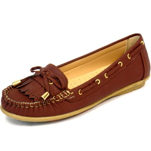 Women's moccasins flats shoes faux leather brown size 8