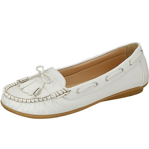Women's moccasins flats shoes faux leather white size 6.5